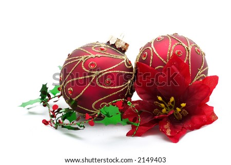 christmas ornaments and red poinsetta - stock photo