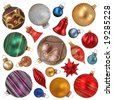 christmas ornaments collection isolated on white background - stock photo