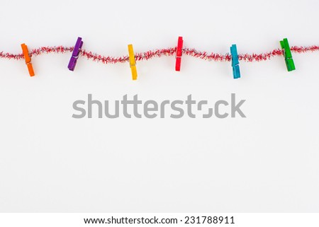 Christmas ornaments frame on white paper background