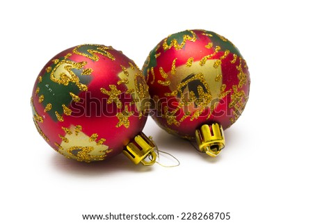 Christmas ornaments isolated - stock photo