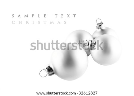 Christmas ornaments isolated on white, high key effect. - stock photo