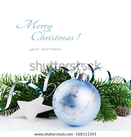Christmas ornaments isolated over white  - stock photo