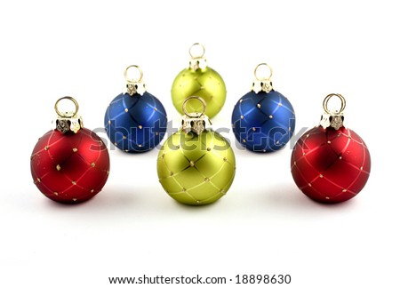 Christmas ornaments on a white background