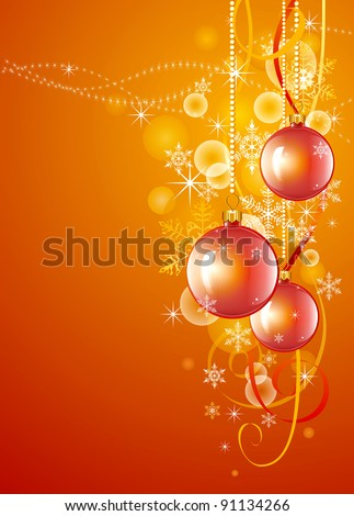 Christmas ornaments on red background. Beautiful illustration devoted to New Year's holidays and Christmas. - stock photo