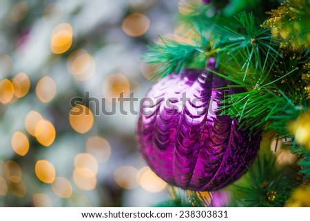 Christmas ornaments on the Christmas tree, Decorated Christmas tree - stock photo