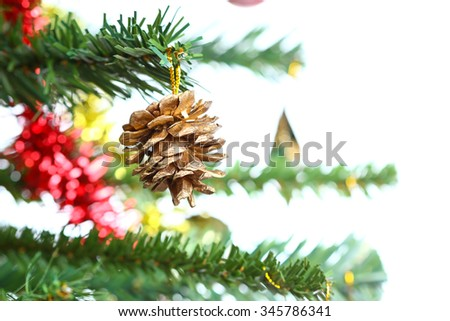 Christmas ornaments on the Christmas tree (Soft focus)