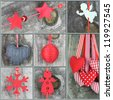 Christmas ornaments on wooden background, Collage of Christmas photos - stock photo