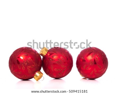Christmas ornaments or baubles on white background with white copy space