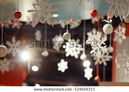 Christmas ornaments snowflake background blur city