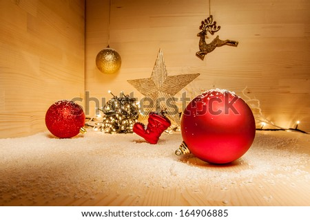 Christmas ornaments with lihgts and snow - stock photo