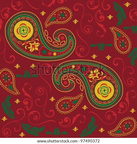 Christmas Paisley in Red - stock photo