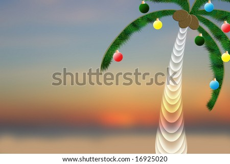 Christmas Palm Tree Background - stock photo