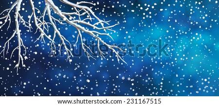 Christmas panoramic banner. View of night dark blue sky, snowfall. bare tree branches - stock photo