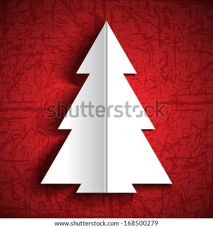 Christmas paper tree design greeting card. Raster version of vector illustration  - stock photo