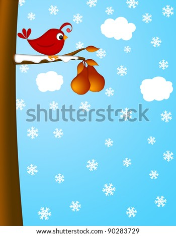 Christmas Partridge on a Pear Tree Winter Scene Illustration - stock photo