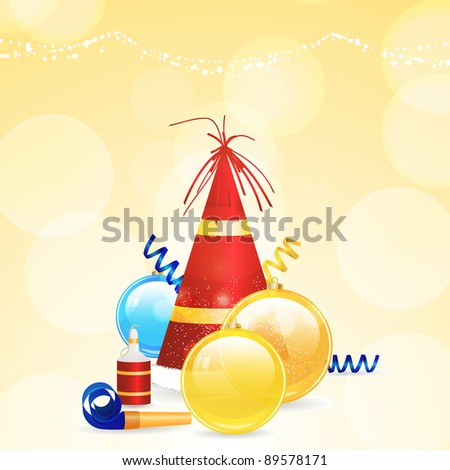 Christmas party hat, baubles , streamers and noise maker - stock photo
