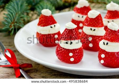 Christmas Party Ideas Kids Strawberry Santa Stock Photo 495838684