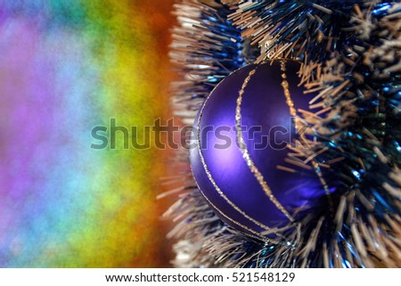 Christmas pattern. New year composition. Blue ball