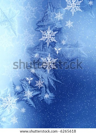 Christmas pattern on window - stock photo