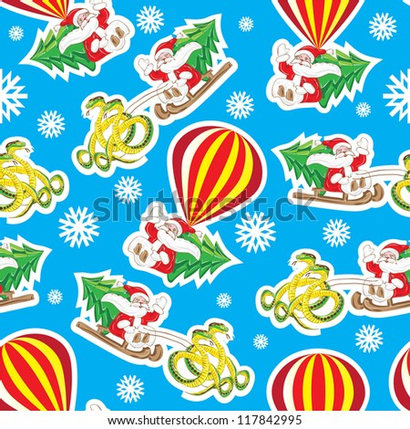 christmas pattern santa on air ball and on snake raster