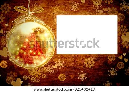 Christmas photo frame vintage background - stock photo