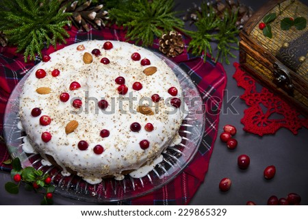 Christmas pie with cranberries and almond - stock photo