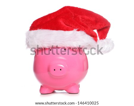 Christmas piggy bank studio cutout - stock photo