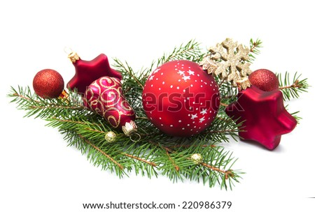 Christmas Pine and Bauble on a white background - stock photo
