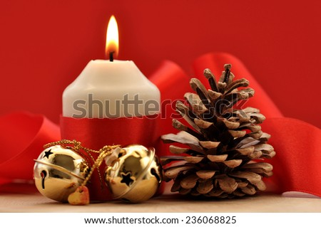 Christmas,Pine cones, Globes and Candles  - stock photo