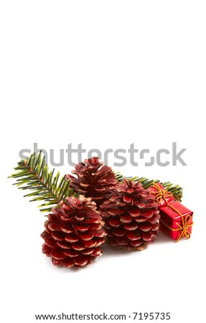 Christmas pine cones, pine leaves, presents isolated on white background. Vertical, portrait orientation. - stock photo