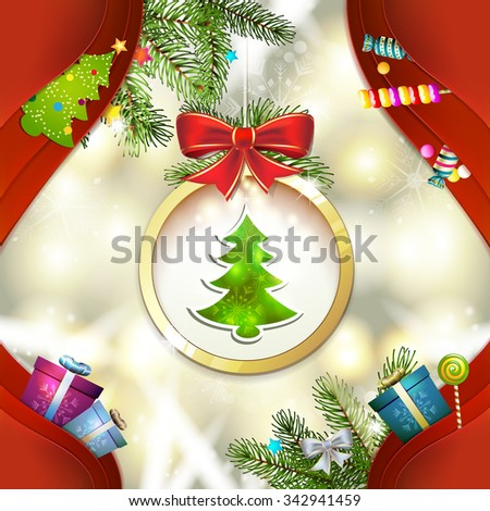 Christmas pine tree with ball - stock photo