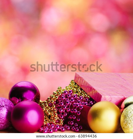 christmas pink and gold decorations isolated on white