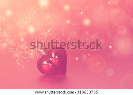 Christmas pink heart with blur bokeh background,instagram filter retro effect - stock photo