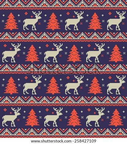 Christmas pixel background - stock photo