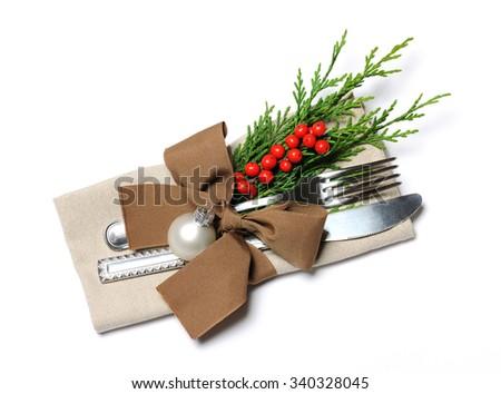 christmas place setting - stock photo