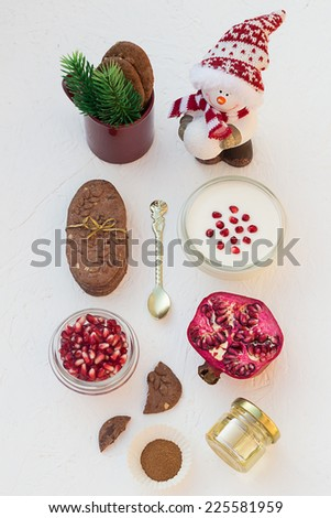 Christmas Pomegranate Seeds Yogurt and Chocolate Chip Cookies - stock photo