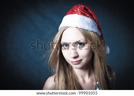 christmas portrait of a beautiful young smiling woman face