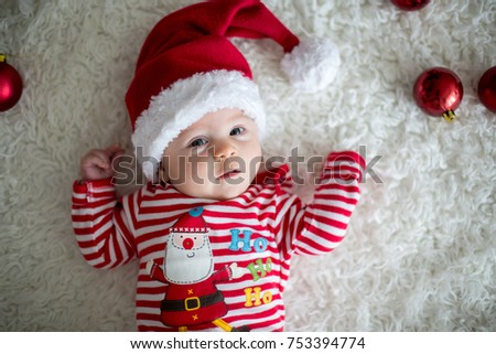 Christmas Portrait Cute Little Newborn Baby Stock Photo Download