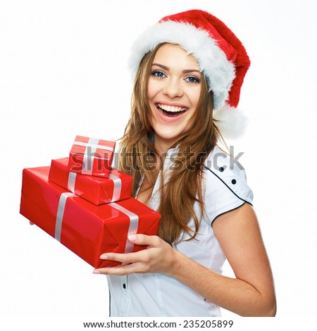Christmas portrait of Santa Girl holding gifts. Smiling woman. Long hair. White background.