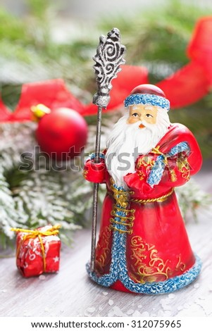 Christmas postcard with Father Frosty and christmas decoration