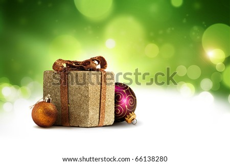 Christmas present box background - stock photo