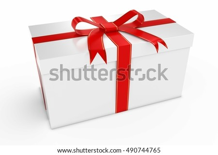 Christmas Present - Gift Box with Gold and Red Ribbon 3D Illustration