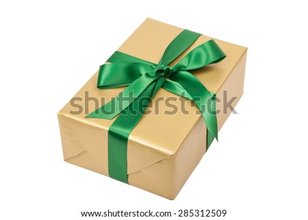 christmas present gold isolated on white - stock photo
