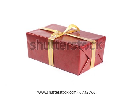 Christmas present isolated on white