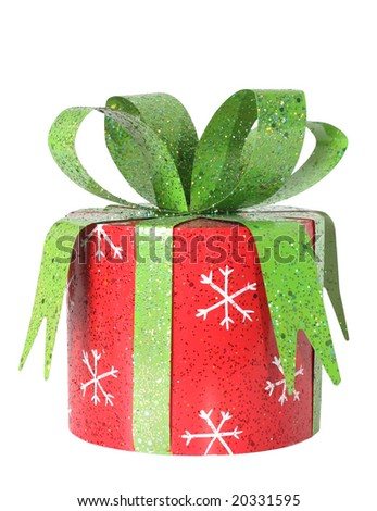 Christmas present, isolated on white. Clipping path included. - stock photo