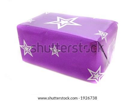 Christmas present or birthday gift, isolated - stock photo