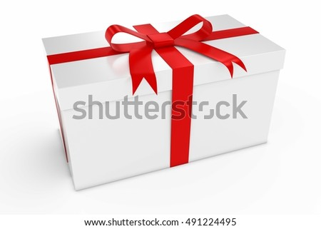 Christmas Present - White Gift Box Tied with Red Bow 3D Illustration
