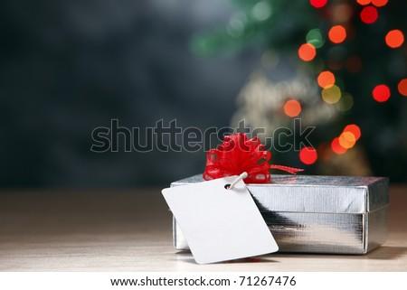 Christmas present with christmas tree. - stock photo