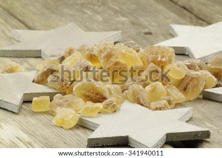 Christmas presentation of rock sugar to sweeten tea or other beverages - stock photo
