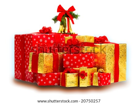 Christmas Presents and Gifts. Isolated over white background